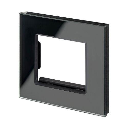 RetroTouch Euro Data Plate Single (2 Module Space) Black Glass PG 00175